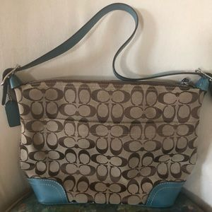 Coach Signature Tan Fabric & Leather Hobo Bag